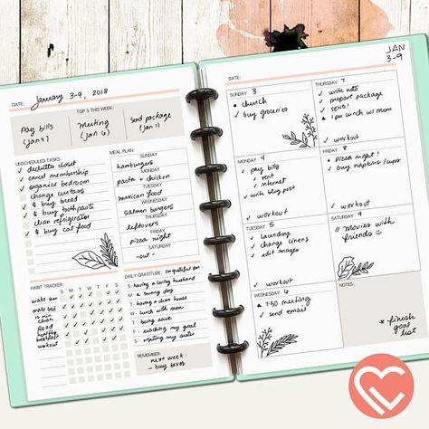 Weekly Plans | 2 Printable Pages | 3 Sizes | Digital Planner Pages | Instant Download Printable PDF