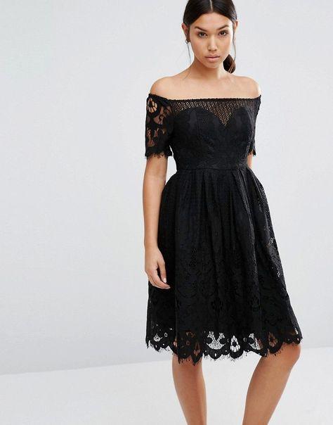 1fcbd2c485856 Boohoo Scalloped Lace Bardot Prom Dress | Homecoming & Prom | Bardot ...