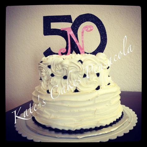 Buttercream Ruffle And Rosette Tiered Cake 50th Birthday Kates Cakes Pensacola FL