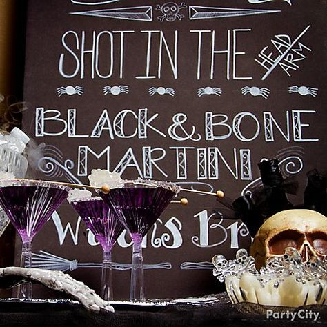 """Love this pick-your-poison DIY """"blackboard"""" Halloween cocktail party menu."""