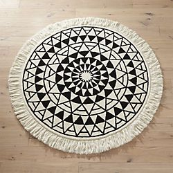 Eclipse Round Black And White Rug