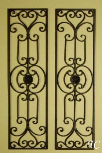 Diangelo 36 Inch Wrought Iron Wall Grille Set | Iron wall ...
