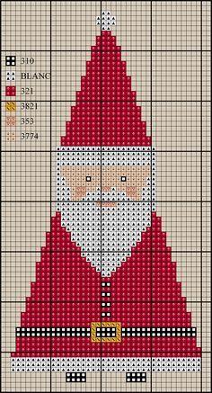 Resultado de imagem para santa mrs.claus ornaments cross stitch