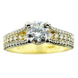 10k Yellow Gold Bridal Engagement Ring Ice On Fire Style 1 5ctw Cz 6mm Wide Engagement Rings Fashion Rings Rings
