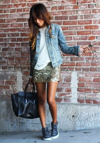 Women's White Long Sleeve T-shirt, Light Blue Denim Jacket, Gold Print Sequin Mini Skirt, Black Leather Tote Bag, and Charcoal High Top Sneakers