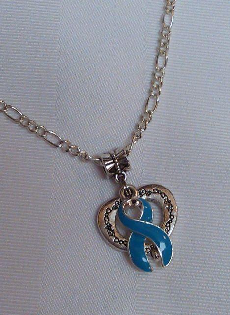 Teal awareness open heart necklace!
