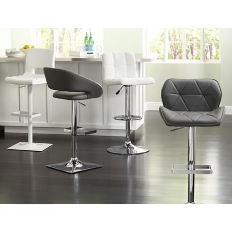 Fabulous Boulton Gray Faux Leather Adjustable Swivel Bar Stool Gmtry Best Dining Table And Chair Ideas Images Gmtryco
