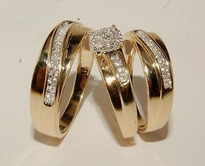 Details About 14k Yellow Gold Fn Diamond Bridal Engagement Ring His Her Trio Wedding Band Set In 2020 Bridal Engagement Rings Matching Wedding Rings Diamond Wedding Bands