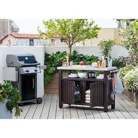 Keter Outdoor Entertainment Storage Station Grilling Table Sam S Club Outdoor Bbq Outdoor Serving Cart Outdoor
