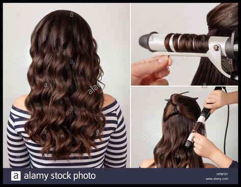 Erstellungsprozess Locken Lange Lockige Haare Frisur Für