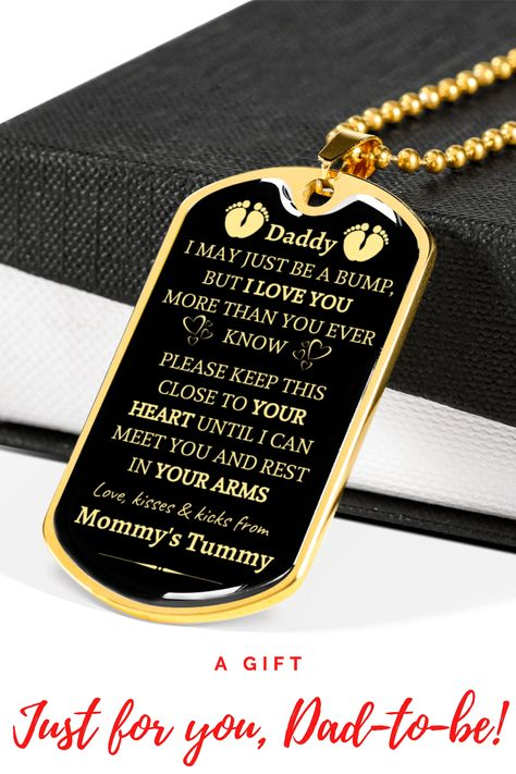 To Daddy To Be I Love You From Baby Bump Dog Tag Necklace In