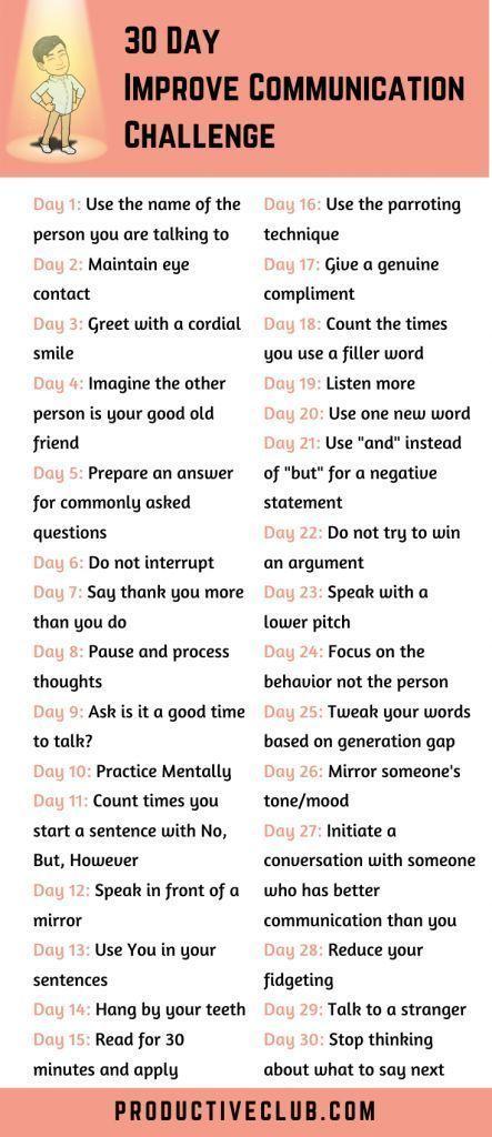 30 Day Challenge Improve Communication Skills Self Improvement Improve Communication Skills Improve Communication Communication Skills