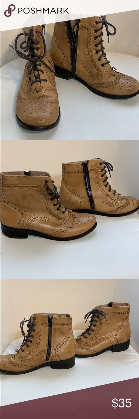8e96d711f9 Diba True boots Diba True tan leather boots with side zipper and laces. Cut  out