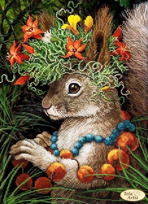Bead embroidery kit Stamped Needlepoint Kit Modern Needlepoint Bead Cross Stitch Embroidery Pattern Bead Needlepoint Forest Beauty