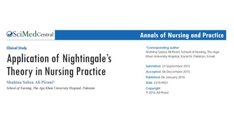 application of florence nightingales theory in nursing practice by shahina sabza ali pirani