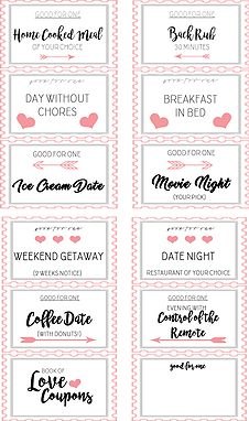 DIY Valentine's Day Gifts Love Coupon Book Free Printable