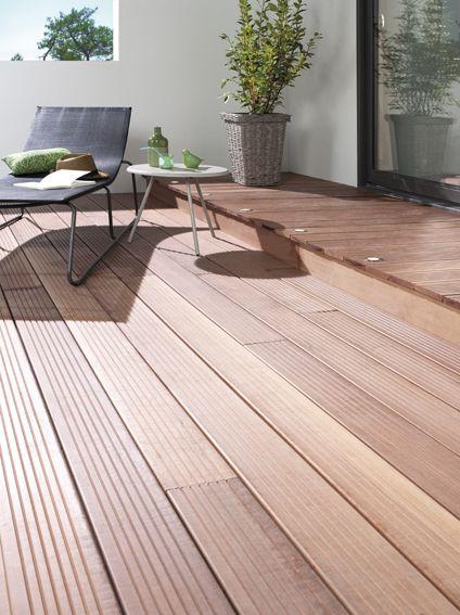 terrasse mixte carrelage et bois Terrasse et Pergola Pinterest - construction terrasse en bois sur parpaing