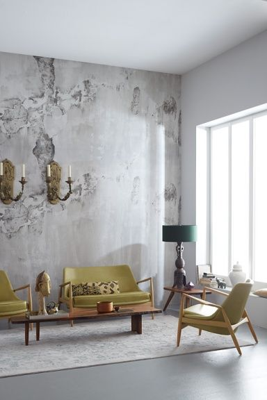 """Loft: """"Factory 2014"""" wallpaper to look like an old factory-like the combination of """"old"""" walls & wall sconces with contemporary clean lines of the mid century furniture"""