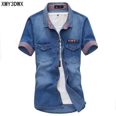 1812599349 New 2018 men s boutique summer slim fit leisure pure cotton short sleeve  shirt Male denim shirt men hot style washed jean shirt
