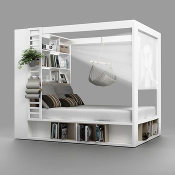 Schlafzimmer 2019 32 fabulous 4 poster beds that make a great bedroom canopy bed # bedr Space Saving Furniture, Multifunctional Furniture Small Spaces, Space Saving Bedroom, Furniture For Small Spaces, Bed Storage, Storage Shelves, Bedding Storage, Beds With Storage, Storage Ideas
