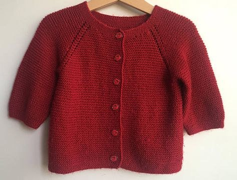 c0716aff0ae4 Baby Sweater - Hand knitted unisex baby red cardigan jacket