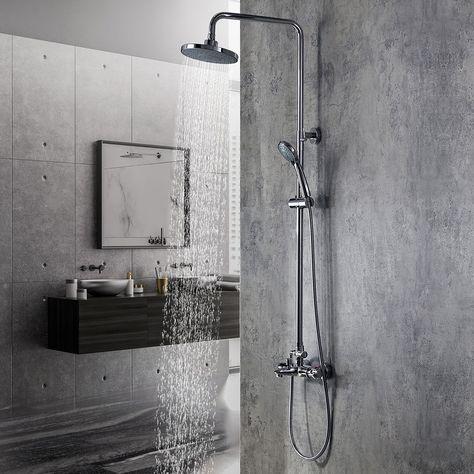 Bathroom Round Overhead Rainfall Modern Chrome Solid Brass Shower 200mm Head