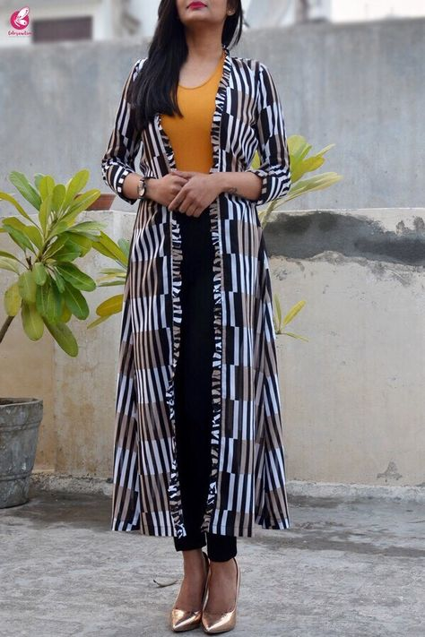 59702a9f830 Black and White Printed Summer Cool Long Shrug - Shrugs Online in India