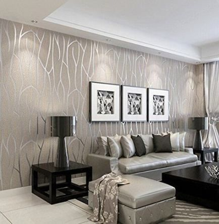 Trendy Wall Paper Modern Livingroom Ideas Modern Wallpaper Living Room Home Living Room Wallpaper Grey Wallpaper Living Room