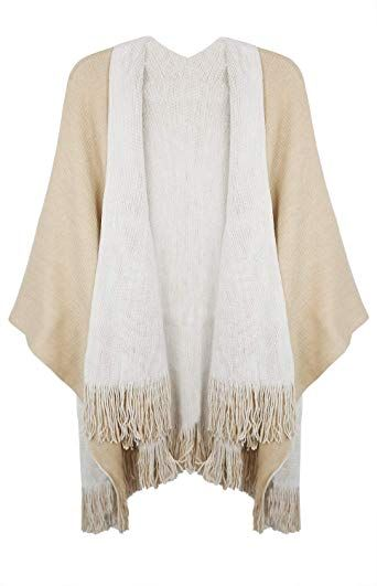 f056bd11253 Lovful Women Winter Warm Cashmere Feel Poncho Capes Scarf Shawl ...
