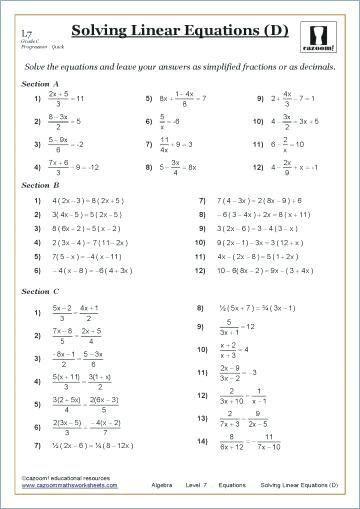 Carpentry Math Worksheets Image Result For Grade 9 Math Worksheets Linear Equations In 2020 Math Worksheets Solving Linear Equations Algebra Worksheets