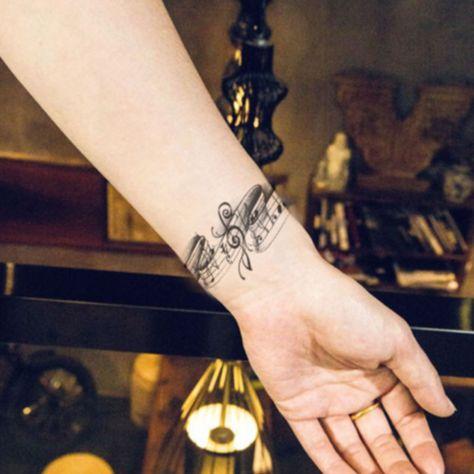 £0.99 GBP - Waterproof Temporary Tattoo Stickers Cute Black Grey Music Notes #ebay #Fashion