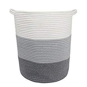Lanheng 17 8 X 15 8 X 13 8 Gray Baby Laundry Basket Thread Cotton Rope Basket Toy Storage Organizer Tall Woven Basket Toy Storage Baby Laundry Hamper In 2020 With