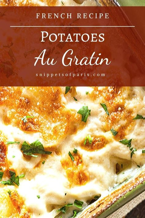 Simple Au Gratin Potatoes Recipe: the French Way A simple au gratin potatoes recipe direct from France. With its cheesy goodness, we look at what to serve with the potatoes, alternative ingredients and more. French Cooking Recipes, Easy French Recipes, Simple Recipes, Italian Recipes, Thai Recipes, Mexican Food Recipes, Healthy Recipes, Greek Recipes, Healthy Food