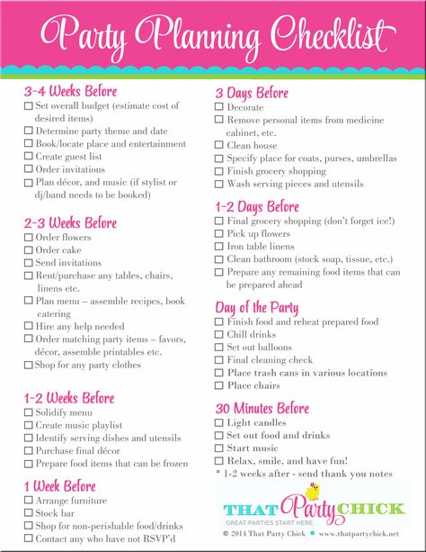 Party Planning Checklist   Pinteres