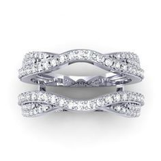 Carat Ctw White Gold Round Diamond Wedding Band Enhancer Guard Double Ring Ct With A Princess In The Middle