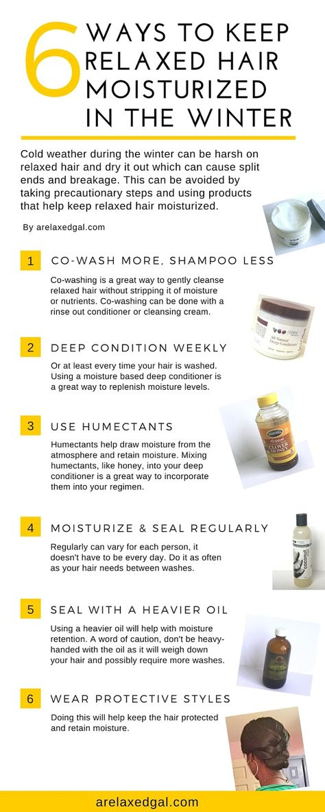 Winter weather can be harsh on relaxed hair and dry it out which can result in split ends and breakage. This can be avoided by taking precautionary steps and using products that help keep relaxed hair moisturized.   arelaxedgal.com