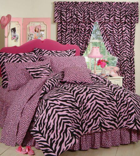 Pink Zebra 8 Pc Queen Comforter Set One Matching Shower Curtain