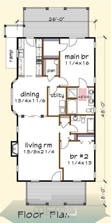 Oct 6 2019 House Plan Ud1213a A Universal Design Series A Thompsonplans Com Traumhausp In 2020 Small House Floor Plans Tiny House Floor Plans Small House Plans