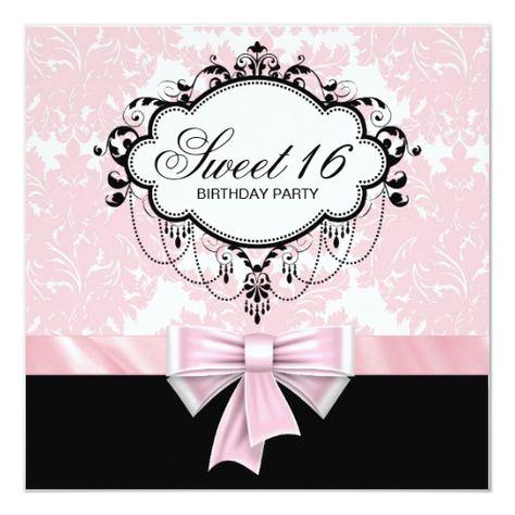 Pink Black Damask Sweet 16 Birthday Party Invitation | Zazzle.com