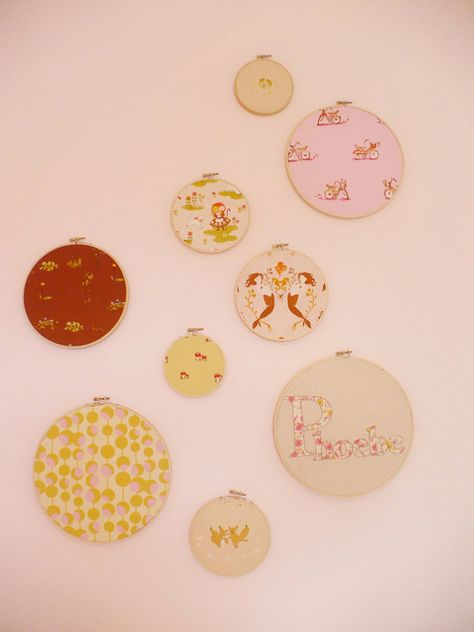 Fabric in embroidery hoops