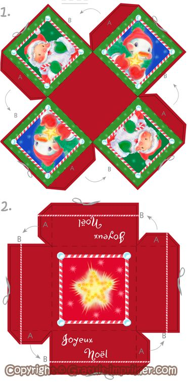 Boite Cadeau Noël Modèle De Boite à Imprimer Et Fabriquer