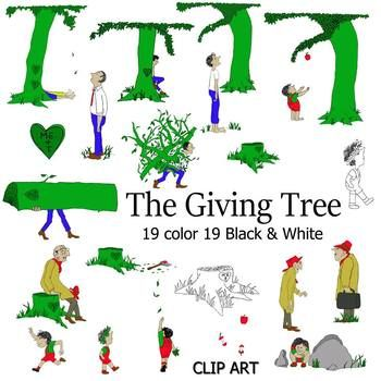 Set Of 19 The Giving Tree Story Book Clip Art This Set Comes With 19 Black And White Images And 19 Color Images This Bo Clip Art Book Clip Art The Giving Tree