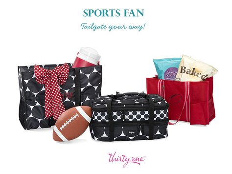 On your way to a tailgate party? Pair our Spirit Collection with your favorite print and get ready to cheer for your team. The Organizing Utility Tote looks great next to a Super Organizing Tote in Big Dot. Complete the look with a Varsity Scarf and Perfect Party Set! Www.mythirtyone.com/231655