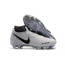 Zapatos De Futbol Nike Botines Botas De Futbol Nike Phantom Vision Elite DF FG Negro Plateado Terreno Firme
