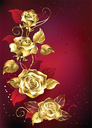 Golden Roses Red Background In 2019 Red Background Gold