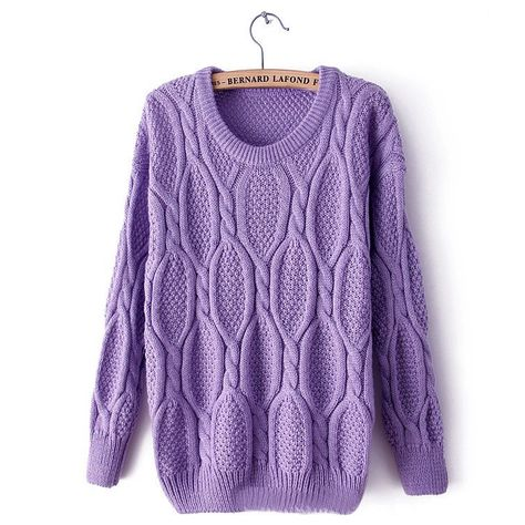 Women Lady Retro Warm Round Neck Knitted Pullover Jumper Loose Sweater on Luulla