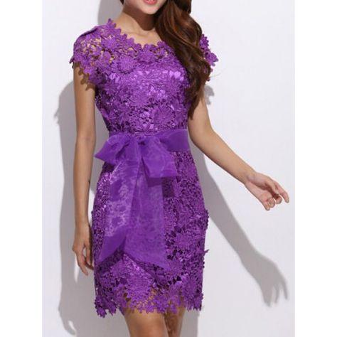 Elegant Round Collar Lace Crochet Flower Organza Bowknot Embellished Short Sleeve Women's Dress