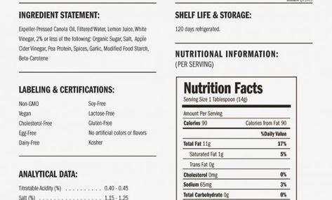 Image Result For Just Mayo Nutritional Facts Just Mayo Nutrition Facts Nutrition