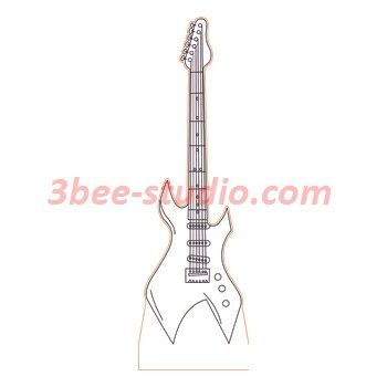 Electric Guitar 3d Illusion Lamp Plan Vector File For Laser And Cnc 3bee Studio 3d Illusion Lamp 3d Illusions Illusions