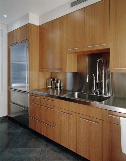 Stainless Steel Counter Top Backsplash With Bamboo Cabinet Doors Outdoorkitchencabinetss Modern Kitchen Modern Kitchen Design Replacing Kitchen Countertops